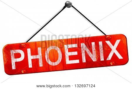 phoenix, 3D rendering, a red hanging sign