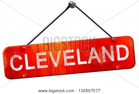 cleveland, 3D rendering, a red hanging sign