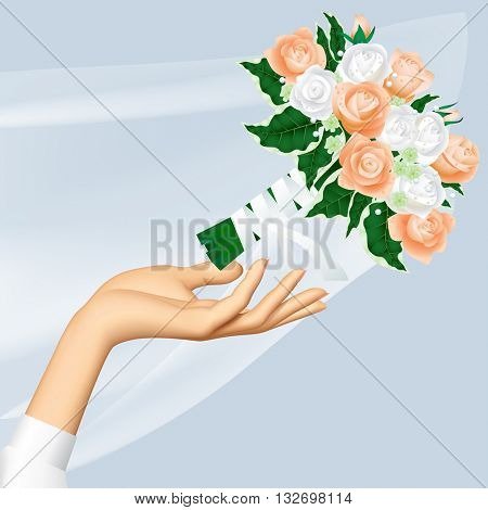 Woman's hand throwing wedding bouquet. Wedding and Bride Throw concept vector illustration