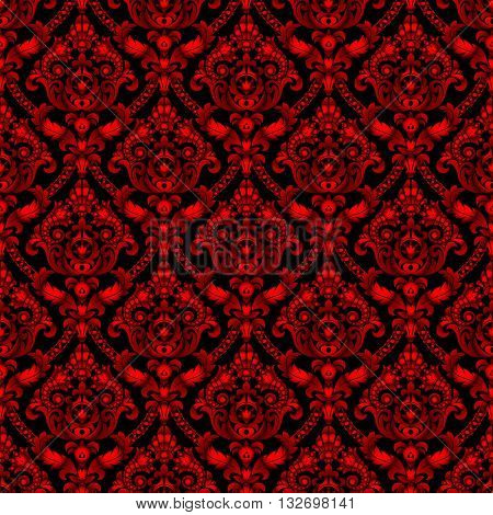 Red shining vintage seamless pattern background. Vector illustration