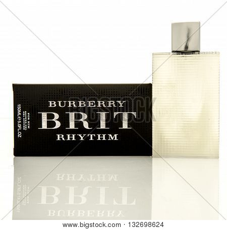 Winneconne WI - 2 June 2016: Burberry Brit rhythm shower gel on an isolated background