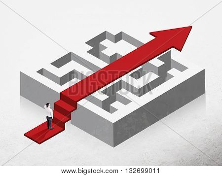Solution concept with red arrow going over maze and businessman on concrete background