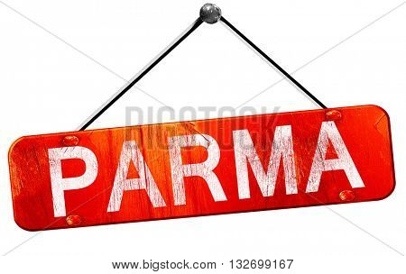 parma, 3D rendering, a red hanging sign