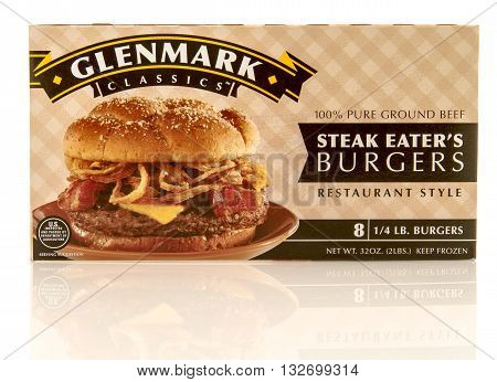 Winneconne WI - 31 May 2016: Box of Glenmark classics steak eater's burgers on an isolated background