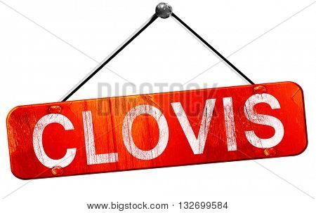 clovis, 3D rendering, a red hanging sign