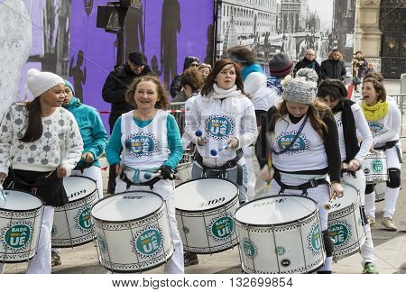 Paris France-March 03 2016: The group of unidentified street drummers supporting marathon in Paris on place Hotel de Ville France.