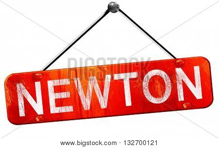 newton, 3D rendering, a red hanging sign