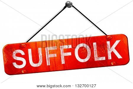 suffolk, 3D rendering, a red hanging sign