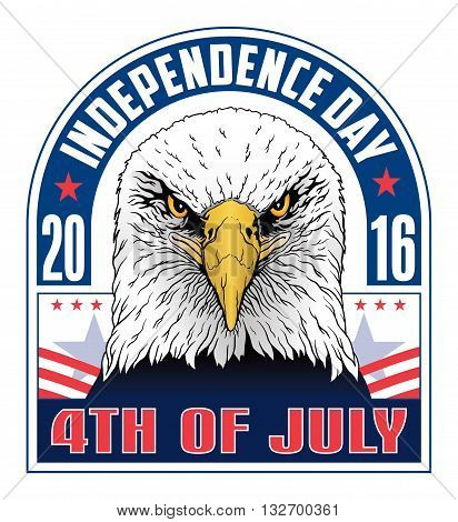 4th of July-Independence Day is an illustration of a fourth of July design with a hand drawn bald eagle and Independence Day text in red, white and blue. Great for 4th of July flyers, invitations or t-shirts.