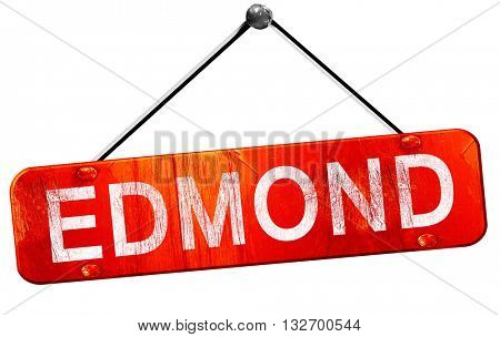 edmond, 3D rendering, a red hanging sign