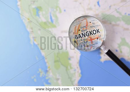 Consultation With Magnifying Glass Map Of Bangkok