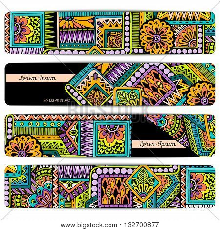 Abstract vector hand drawn ethnic pattern card set. Series of image Template frame designs for cards.