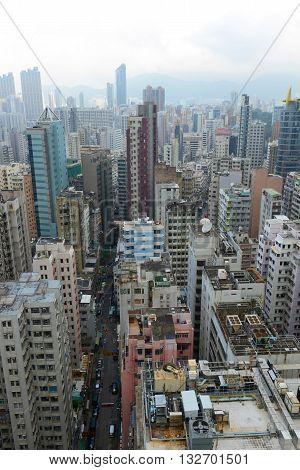 Hong Kong Kowloon Skyline from Tsim Sha Tsui on Kowloon.