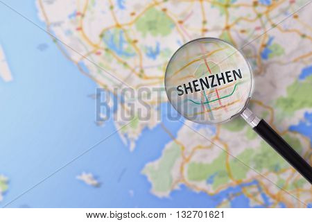 Consultation With Magnifying Glass Map Of Shenzhen
