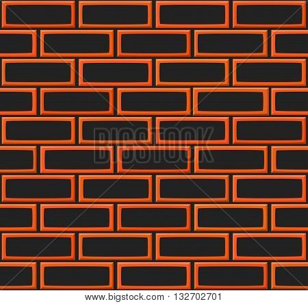 Cartoon Hand Drown Realistic Balck And Orange Seamless Brick Wall Texture. Vector Illustration
