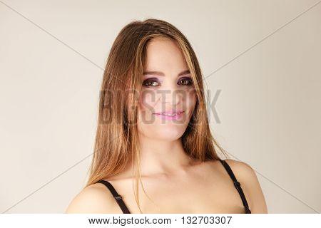 Woman Long Hair Violet Dark Shadows Makeup