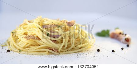 BEAUTIFUL DELICIOUS GOURMET SPAGHETTI CARBONARA DISH , LANDSCAPE VIEW