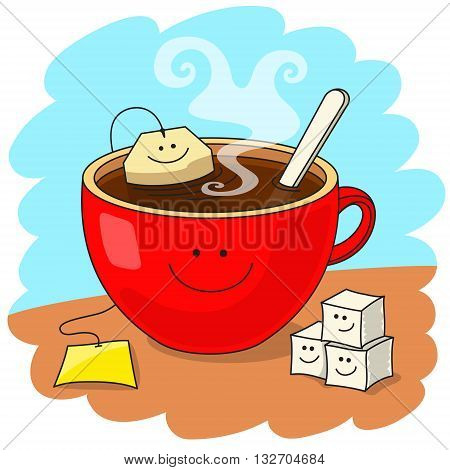 Red cup of tea and tea bag inside. Funny smiling faces. Tasty tea drinking and good mood concept