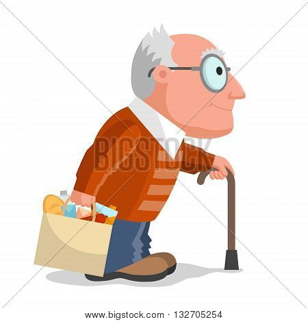 Elderly man in brown sweater, package with foodstuff in one hand and walking stick in another hand. Make buying in any age