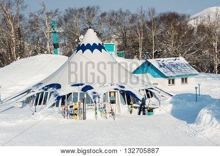Yuzhno-Sakhalinsk Russia  Jan 10, 2014 : Sports and technical complex Gorny Vozdukh winter ski resort