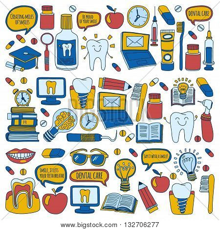 Dentistry Vector doodle set of icons Children dental care Hand drawn images