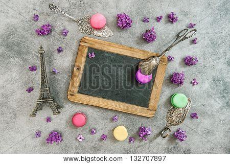 Vintage chalkboard macaroon cookies Eiffel tower Paris souvenir. Antique decorations