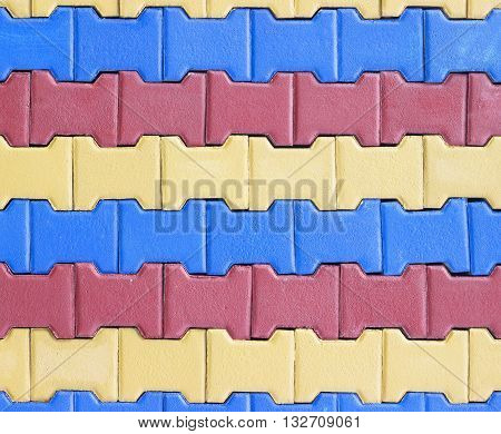 colorful of Paving blocks background. Paving Hexagon brick walkway ;The pattern of stone block paving