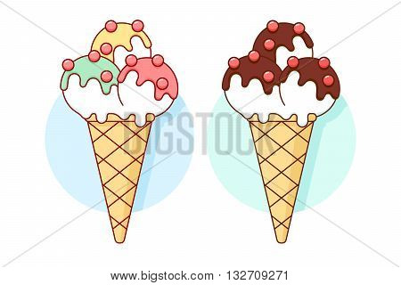 Icon ice cream different pastel color in line graphic. Design ice cream and popsicle for ice cream shop. Vector illustration
