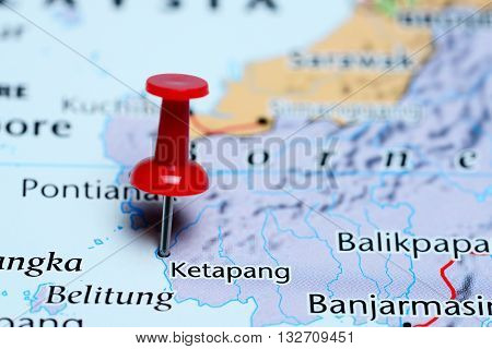 Ketapang pinned on a map of Indonesia
