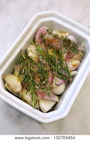 Garlic, Shallots And Herbs