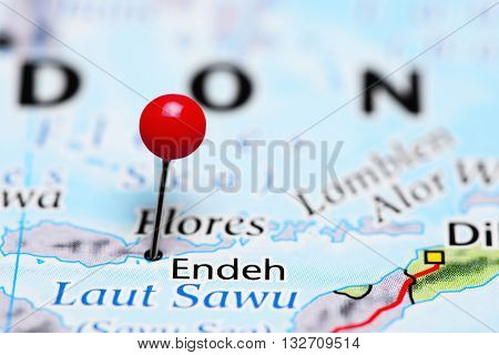 Endeh pinned on a map of Indonesia
