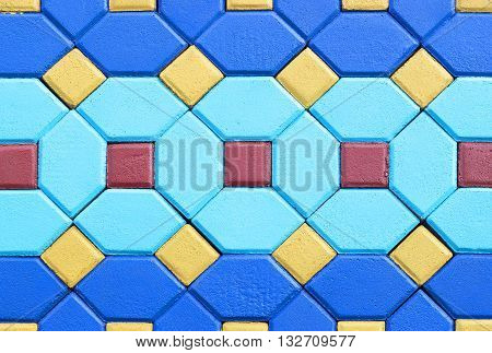 The Hexagon and squares brick cement flooring