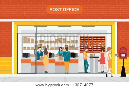 Modern exterior and interior of post office Building with counter service and post box with customer front store vector illustration.