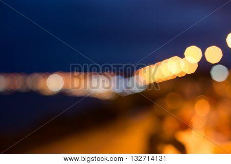 Defocused light of Blurred Cityscape, Multicolored defocused bokeh lights background