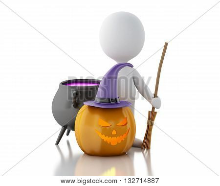 3d renderer image. White people with pumpkin witch hat broom and witch pot. Halloween concept. Isolated white background.