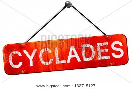 Cyclades, 3D rendering, a red hanging sign
