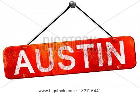 austin, 3D rendering, a red hanging sign