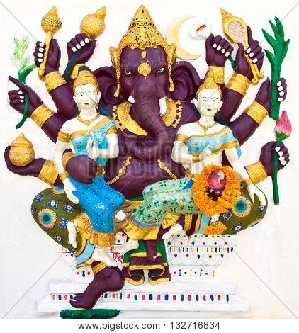 Indian or Hindu ganesha God Named Maha Ganapati at temple in thailand ;The conviction will be used hand to apply to the Lord for get the wishes.