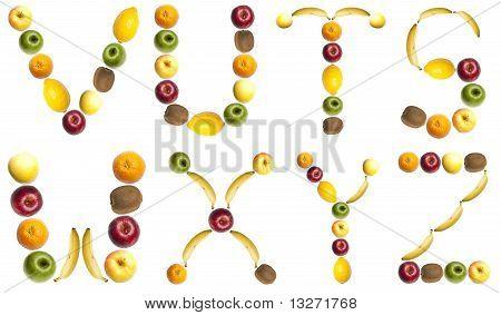 Briefe, hergestellt aus Früchten