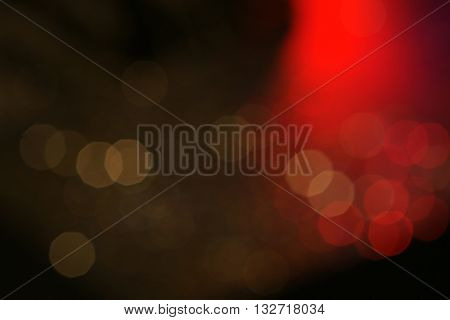 Dark Colorful Bokeh With Red Light For Nightlife Concept