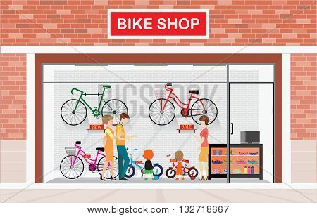 Men and women with kids buying bicycle at bike shops shop vector illustration.
