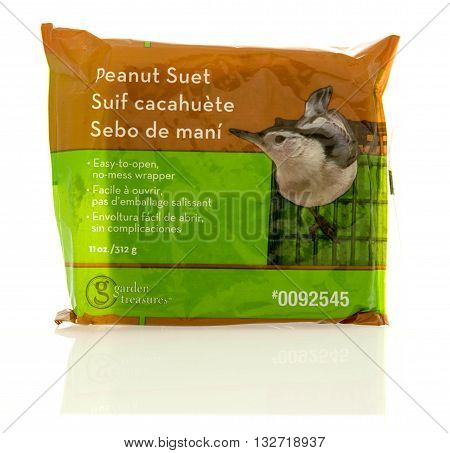 Winneconne WI - 22 April 2016: Package of Peanut suet bird food on an isolated background