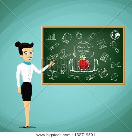 Teacher stand next to the blackboard. Back to school. Stock vector illustration.