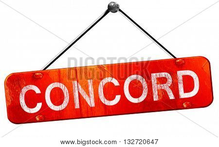 concord, 3D rendering, a red hanging sign