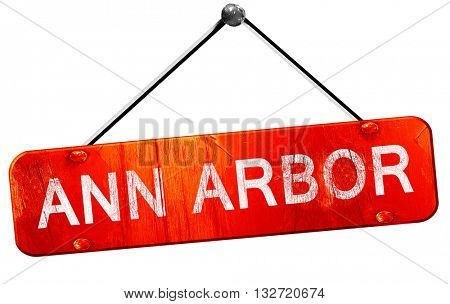 ann arbor, 3D rendering, a red hanging sign