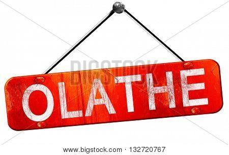 olathe, 3D rendering, a red hanging sign