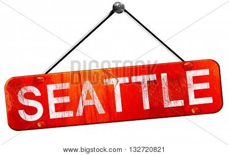 seattle, 3D rendering, a red hanging sign