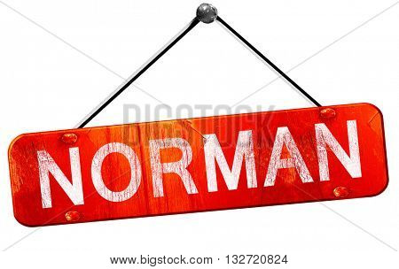 norman, 3D rendering, a red hanging sign