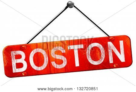boston, 3D rendering, a red hanging sign