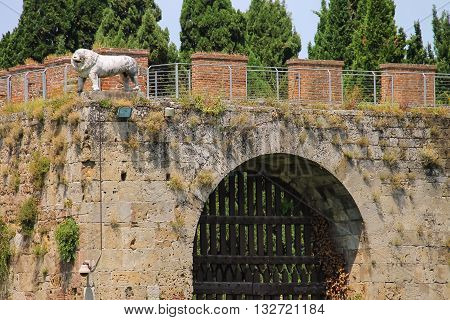 Antique fortified wall and gate with statue of lion. Pisa Italy